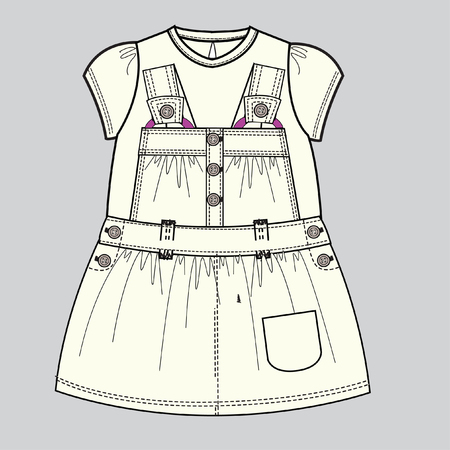 baby clothes flat sketch template isolated Illustration