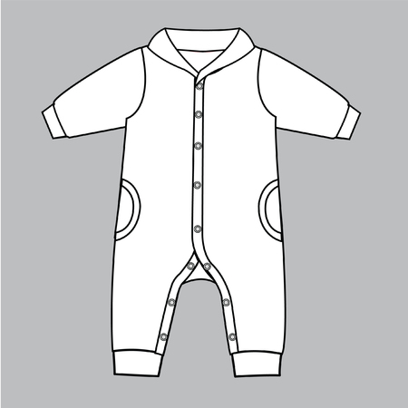 Baby Clothes Flat Sketch Template Isolated Stock Vector