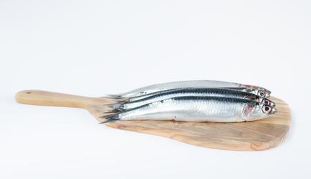 Fish, Engraulis encrasicolus, on wooden board and white background. Stock Photo