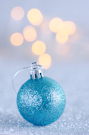 Christmas decoration with balls and pine. Stock Photo