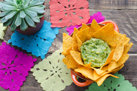 Nachos with guacamole on rustic wooden background. Stock Photo