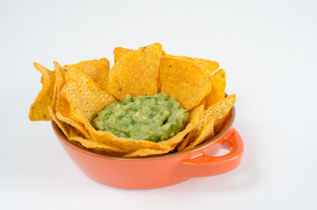 typical: Nachos with guacamole on white background