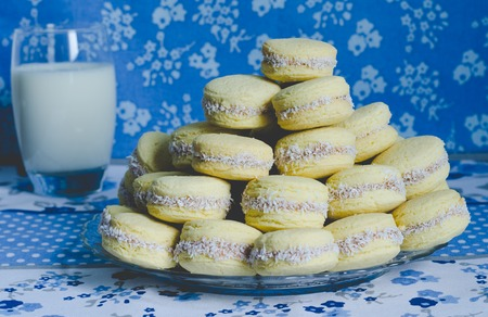 Typical Argentine cookies filled with caramel. Caramel cookies.