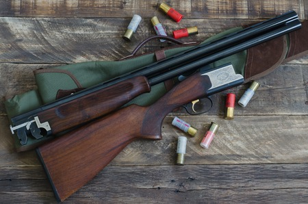Hunting shotgun with superimposed guns for shooting with cartridges. Top view.