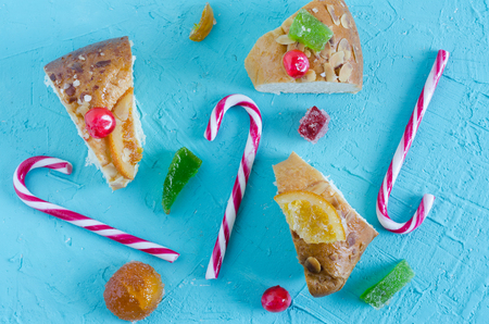 Christmas composition on blue background. Stock Photo