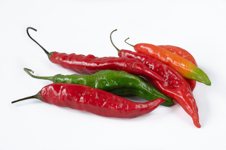 Group of chillies of various kinds on white background. Pepper. Chili pepper.
