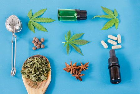 Different uses for cannabis, natural medicine. Flat lay. Stock Photo