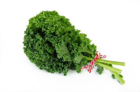 Bunch of american kale on white background. Top view.