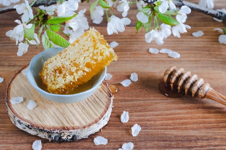 Honeycomb with honey dipper on wooden background with cherry blossoms.