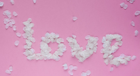 Word love with white flower petals on pink background. 写真素材