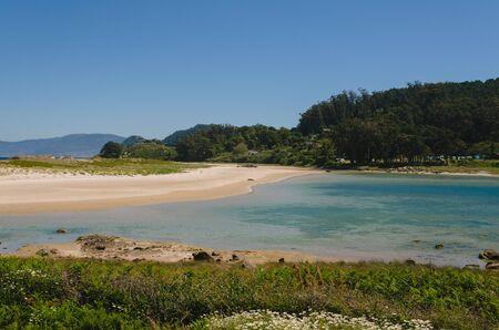 Beach landscape in the Cies Islands. Vigo, Galicia, Spain. Archivio Fotografico