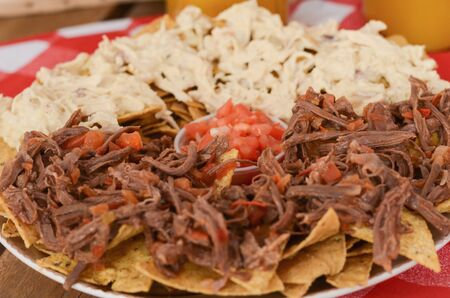 Nachos with pork and chicken. Mexican food.