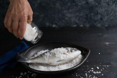 Process of preparation of sea bream salt. Sparus aurata