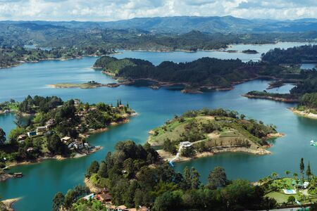 Reservoir of El Peñol, Guatapé. Antioquia Colombia. Water landscape