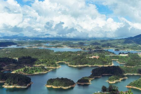 Landscape of the El Pe?±ol Reservoir, Guatap??. Antioquia Colombia Stock Photo