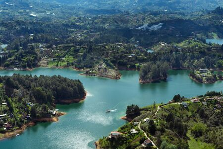 Landscape of the El Peñol Reservoir, Guatapé. Antioquia Colombia Stock Photo