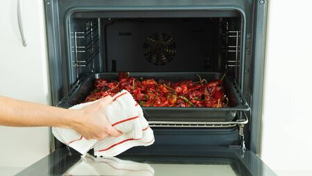 Roasted red peppers. Eat the oven.