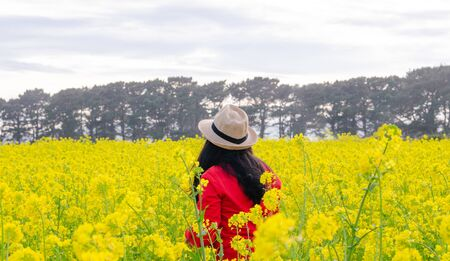 Woman in red sweater and hat on natural yellow flower background. Concept of spring Stockfoto