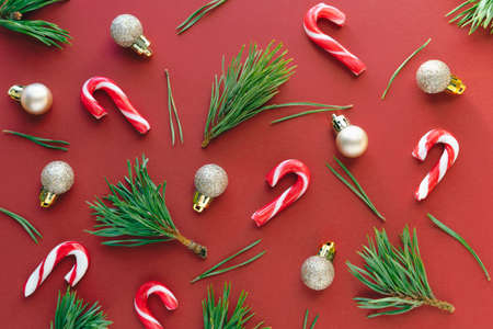 Creative Christmas pattern on a red background. Copy space.