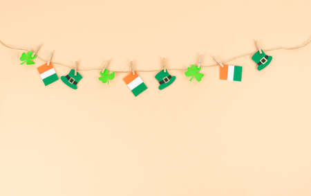 Garlands with St. Patrick's Day decorations. Copy space.