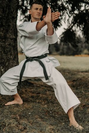 Martial art of karate, a man in a kimono with black belt trains on the mountain,free space. 版權商用圖片