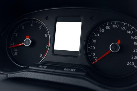 luminosity: Modern car dashboard display close up