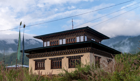 bhutan: Local House style Bhutan Sep 2015