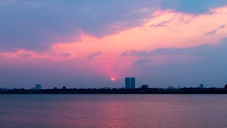 penh: Phnom Penh Town during twilight time, Cambodia Mar 2016
