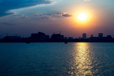 phnom penh: Phnom Penh Town during twilight time, Cambodia Mar 2016