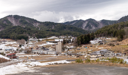 gokayama: Views on the way to Shirakawa-go Japan Feb 2016 Stock Photo