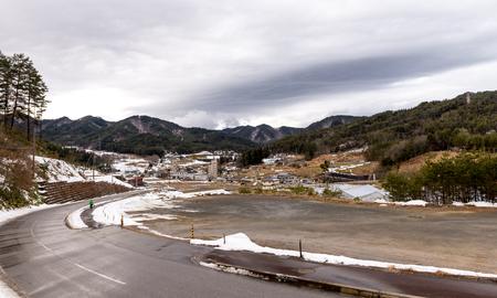 ogimachi: Views on the way to Shirakawa-go Japan Feb 2016 Stock Photo