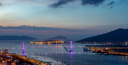 Beautiful bridge during night time (Tran Thi Ly Bridge) 2016. Stock Photo