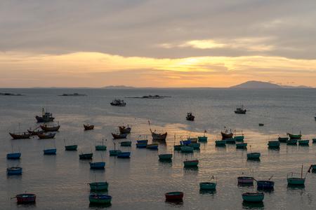Basket boat and  Fishing boat, Vietnam Nov 2016