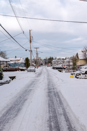 winter road: Town views during winter in Vancouver Canada Dec 2016 Editorial