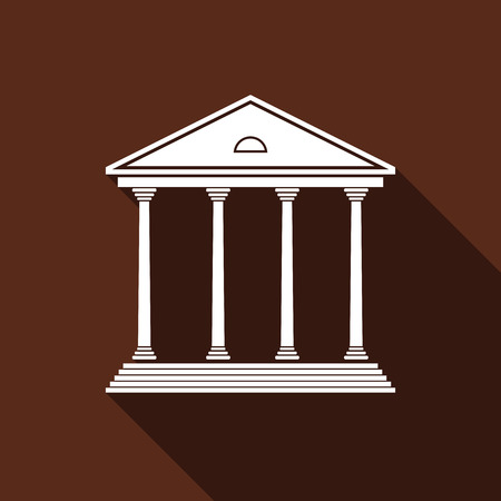 courthouse: Courthouse icon with long shadow. Vector illustration