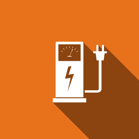 Electric energy supply for cars icon with long shadow. Vector illustration Illustration