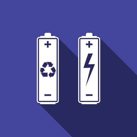 gasoline powered: Battery with recycle symbol - renewable energy concept and renewable energy battery icon with long shadow. Vector illustration