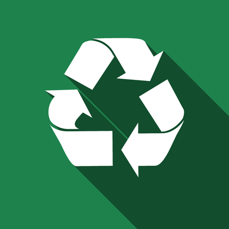 recycle icon: Recycle symbol icon with long shadow. Vector illustration