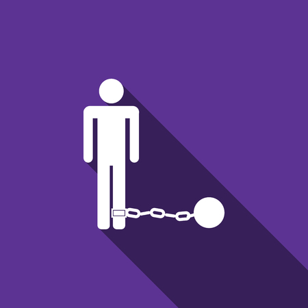 waiting convict: Prisoner with ball on chain icon with long shadow. Vector illustration