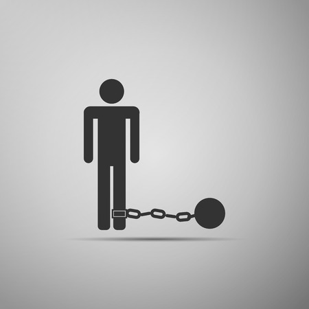Prisoner with ball on chain icon. Vector illustration
