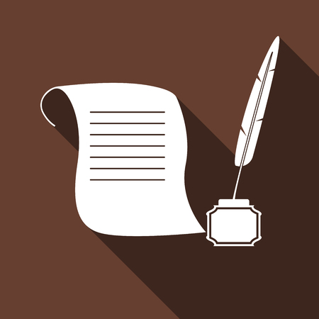 old pen: Quill Pen with inkwell and paper scroll icon with long shadow. Vector illustration