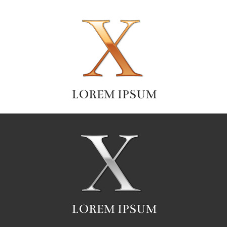 10, X, Luxury Gold and Silver Roman numerals, sign, symbol, icon, graphic. Vector Illustration.