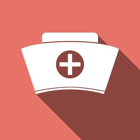 medical headwear: Nurse hat icon with long shadow. Vector illustration. Illustration