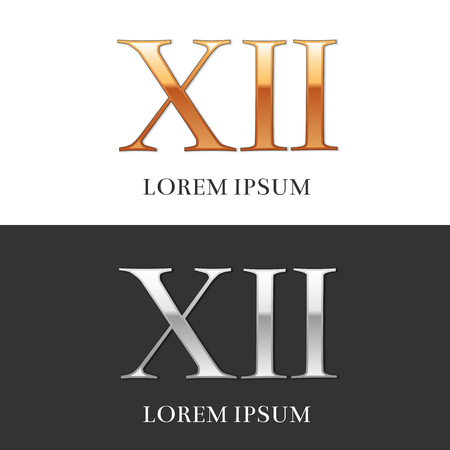 roman numerals: 12, XII, Luxury Gold and Silver Roman numerals, sign, symbol, icon, graphic. Vector Illustration.