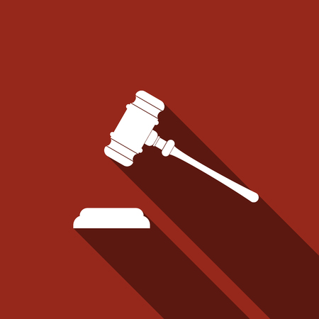 auctioneer: Gavel - hammer of judge or auctioneer icon with long shadow (judge gavel). Vector illustration Illustration