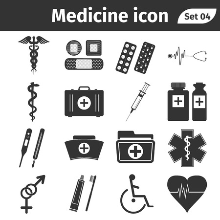 Medische en gezondheidszorg pictogrammen. Vector Illustratie.