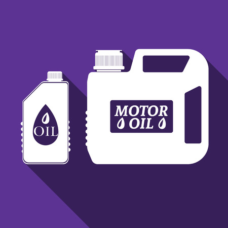 motor oil: Blank plastic canister for motor oil icon with long shadow. Vector Illustration