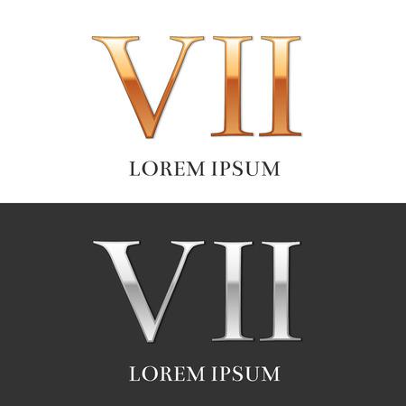 numeros romanos: 7, VII, de lujo del oro y de la plata n�meros romanos, muestra, s�mbolo, icono, gr�fico. Ilustraci�n del vector.
