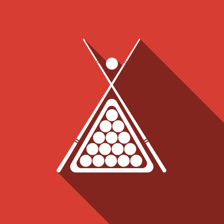 cue: Billiard cue and balls icon with long shadow. Vector Illustration.