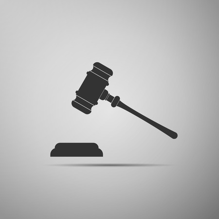 auctioneer: Gavel - hammer of judge or auctioneer icon (judge gavel). Vector illustration